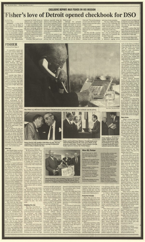 Page two of the front page story about Max Fisher in The Detroit News on September 26, 2003.