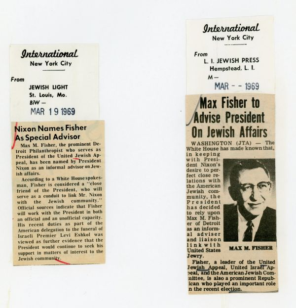 Clips from 1969 articles highlighting Max Fisher's appointment as a Special Advisor to President Nixon.