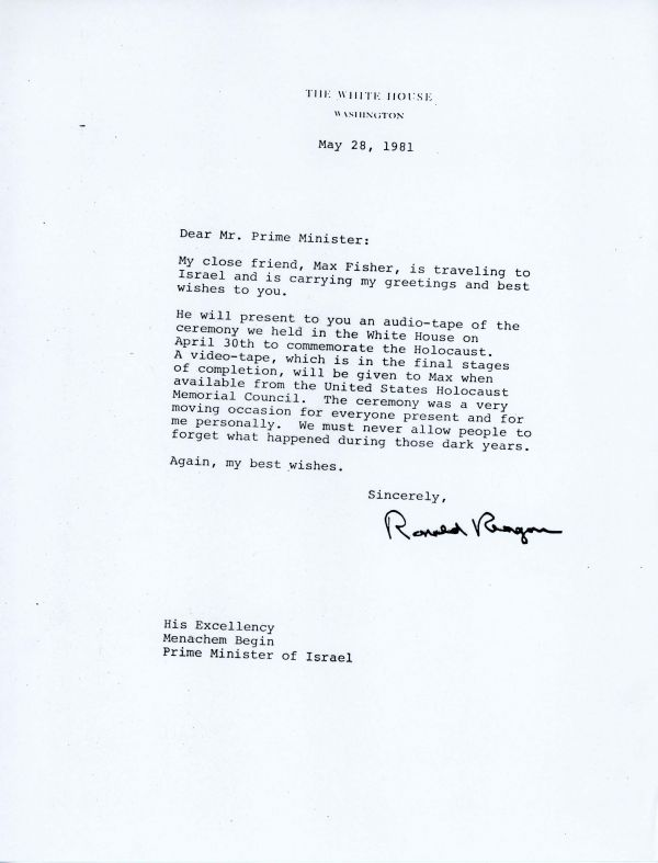 Letter from President Ronald Reagan to Menachem Begin about Max Fisher
