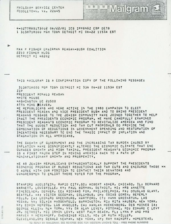 Letter from Max M. Fisher to The Texas Jewish Post in support of President Reagan's economic policy.