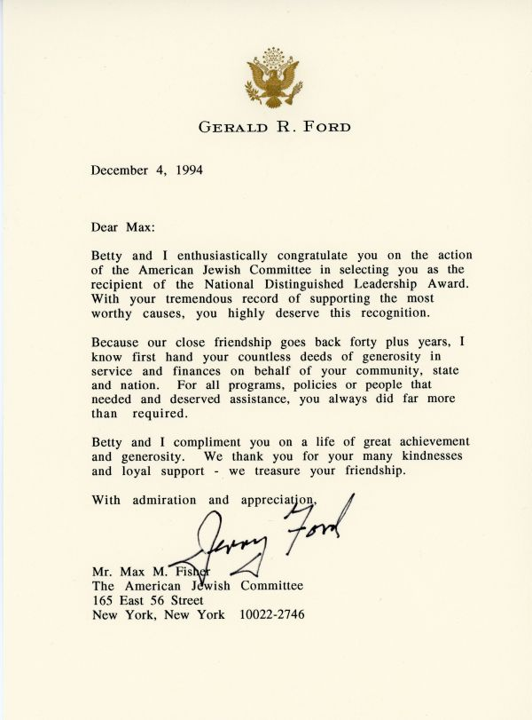 Congratulatory letter from President Gerald Ford to Max Fisher on his receiving the National Distinguished Leadership Award in 1994.