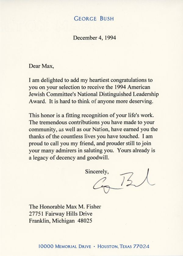 Congratulatory letter from President George H.W. Bush to Max Fisher on his receiving the National Distinguished Leadership Award in 1994.
