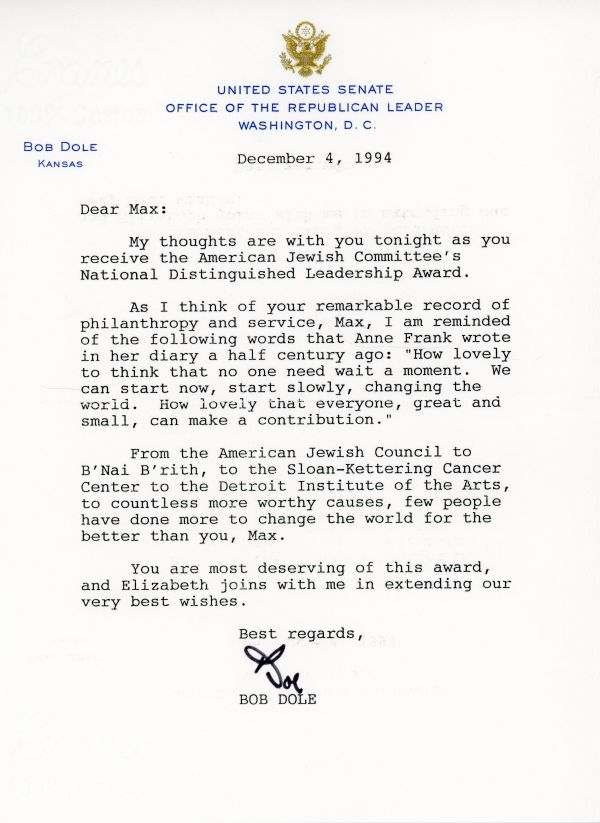 Congratulatory letter from Bob Dole to Max Fisher on his receiving the National Distinguished Leadership Award in 1994.
