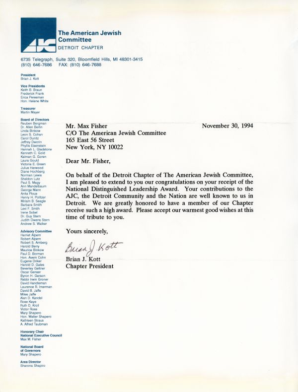 Congratulatory letter from Brian Kott, President of the Detroit Chapter of the AJC, to Max Fisher on his receiving the National Distinguished Leadership Award.
