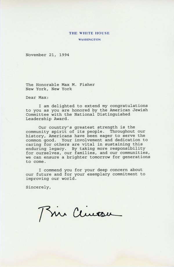 Congratulatory letter from President Bill Clinton to Max Fisher for receiving the National Distinguished Leadership Award in 1994.
