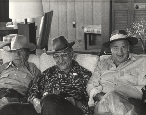 Max Fisher with his old friends and fellow Detroit leaders John Bugas and Henry Ford II, at Bugas's Wyoming ranch.
