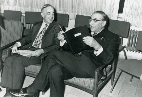 Jewish Agency for Israel leaders Max M. Fisher and Louis Pincus.