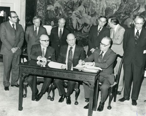 Signing of the UJA contract providing 31 million dollars to aid in the emigration of oppressed Soviet Jews from Russia.