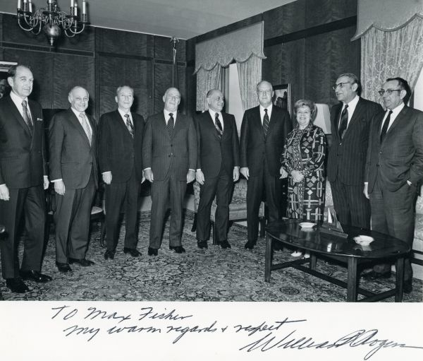 American Jewish leaders Albert Arent, Yehuda Hellman, Charles Zimmerman, Phillip Hoffman, Jacob Stein, William P. Rogers, Charlotte Jacobson, Max M. Fisher, and Rabbi Israel Miller at a Rogers Plan meeting.