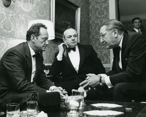 Max M. Fisher meets with Yigal Allon and Yosef Tekoah in 1972.