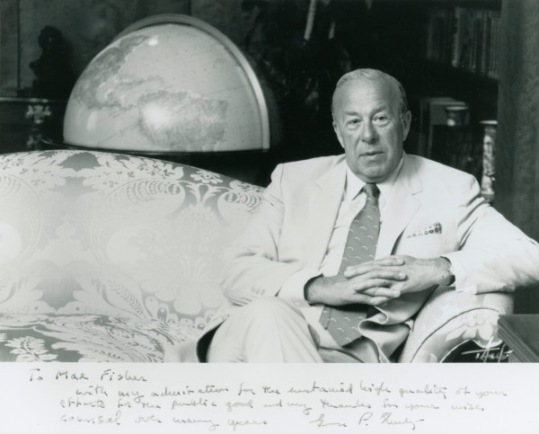 A portrait of Former Secretary of State George Shultz inscribed to Max FIsher.