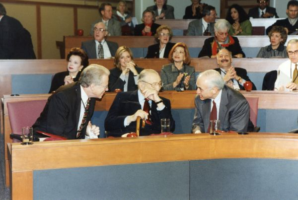 Max and Marjorie Fisher and others at the dedication ceremony of the Fisher Administrative Building at Ohio State University.