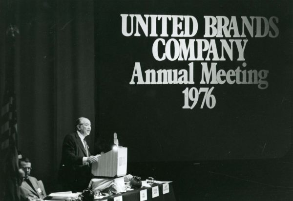 Max Fisher, chairman of the board of directors, speaking at the United Brands Co. Annual Meeting in 1976.