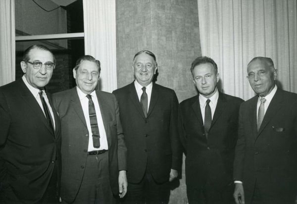 Max M. Fisher, Louis Hamburger, Edward C. Levy, Israeli Ambassador to U.S. Itzhak Rabin, and Samuel Hamburger during the Detroit Jewish Welfare Federation Pacesetters Meeting.