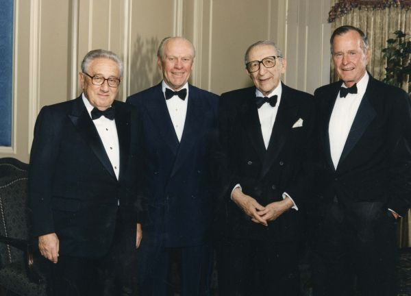 Max Fisher with a few of the distinguished guests at his 90th birthday celebration: Henry Kissinger, Gerald Ford and George H.W. Bush.