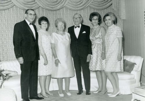 Mollie and William Fisher with their four children, in the mid 1960s. Left to right: Max Fisher, Anne Rose, Mollie Fisher, William Fisher, Gail Rossen, Dorothy Tessler.