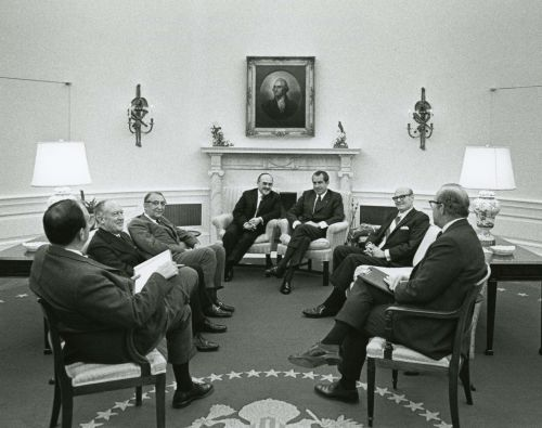 "Max M. Fisher, President Richard Nixon, and others discuss the ""Leningrad Eleven,"" Jews who tried to highjack an airplane out of the USSR."