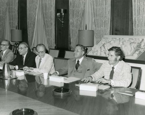 Left to Right: Thomas A. Murphy, Chairman, General Motors, Max M. Fisher, Robert E. McCabe, President, Detroit Renaissance, A. Alfred Taubman, Frederick C. Matthaei, Jr. sitting at table