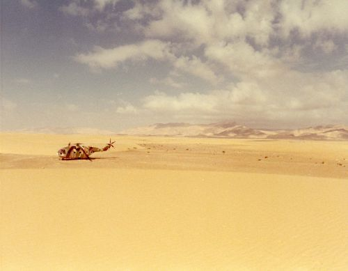The helicopter made a forced landing in the Sinai Desert.