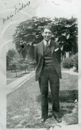 Fisher outside of his fraternity house in Columbus, Ohio, 1929.
