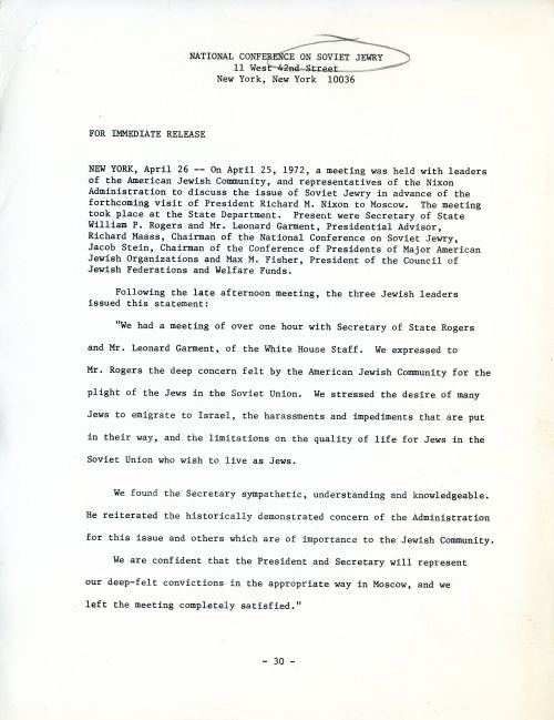 National Conference on Soviet Jewry press release