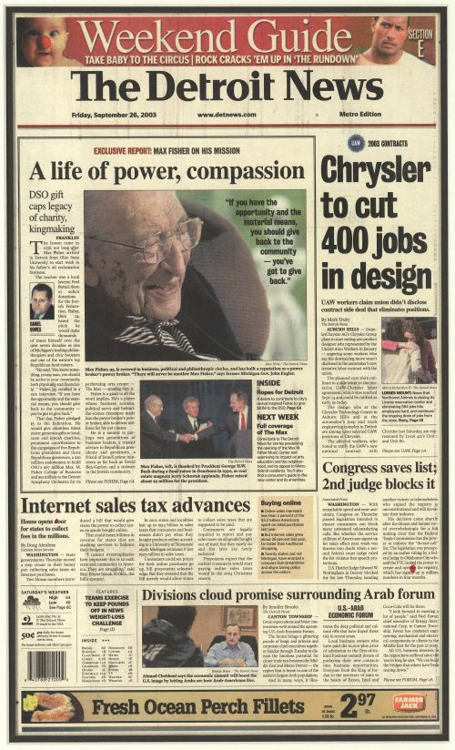 Max FIsher on the front page of The Detroit News on September 26, 2003.