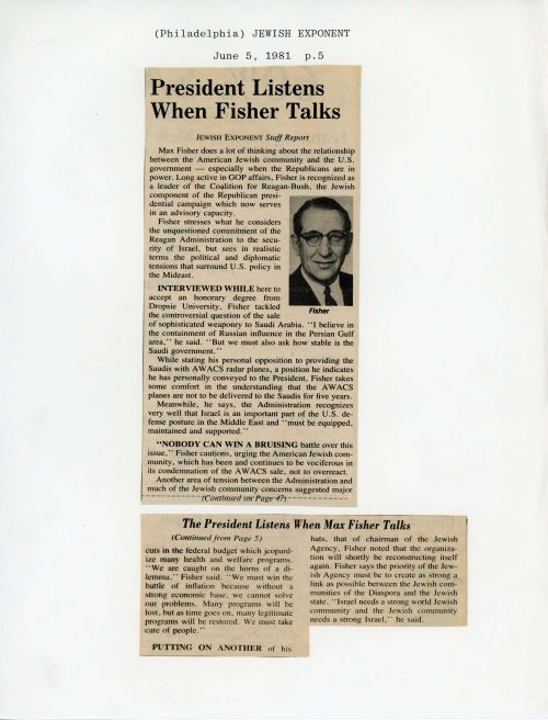 "A 1981 article in the Jewish Exponent declares ""The President Listens When Max Fisher Talks."""