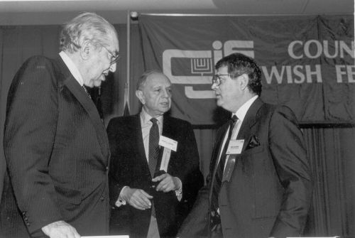 Max Fisher with Mandell L. Berman and Martin S. Kraar at a Council of Jewish Federations and Welfare Funds meeting in 1984.