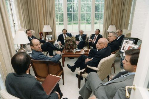 George H. W. Bush, Lee Atwater, George Klein, Joe Gildenhorn, Max M. Fisher, Gordie Zacks, Jack Stein, Craig Fuller, Dick Fox in a meeting at the White House.