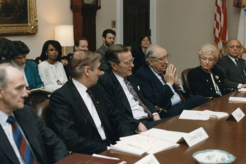 "The ""No Name Committee,"" including Max Fisher, Shoshana Cardin and Bill Berman, meet with President George Bush and his staff to discuss the emigration of Soviet Jews to the United States."