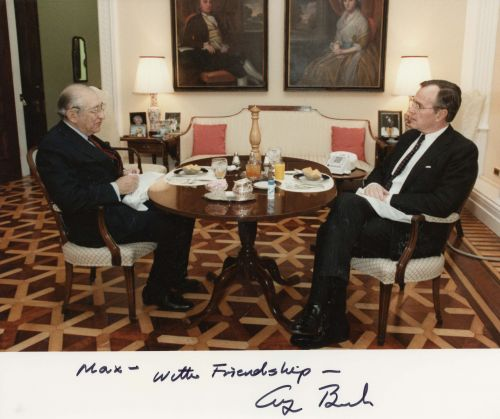 A signed photo to Max Fisher from President George H. W. Bush.