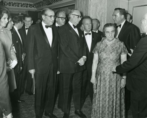 Max M. Fisher, Sam Rothberg, Edward Ginsberg, Yitzhak Rabin, Golda Meir and Abe Fineberg.