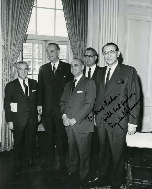 Honorary UJA Chairman Dewey Stone, President Lyndon B. Johnson, Chairman of the UJA Joseph Meyerhoff, Rabbi Herbert A. Friedman and Max M. Fisher at the White House.