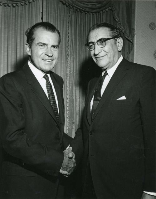 Max M. Fisher and President Richard Nixon at the Republican Finance Committee meeting in Detroit in 1968.