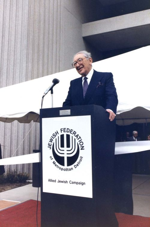 Max Fisher speaks during the dedication ceremony of the Max M. Fisher Building of the Jewish Federation of Metropolitan Detroit.