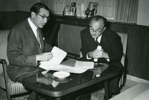 Max Fisher with Israeli Finance Minister Levi Eshkol.