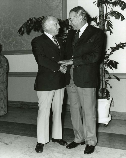 Max Fisher and Senator Jacob Javits at the Israel Bonds dinner for Sam Hausman in Palm Beach, Florida in 1975.