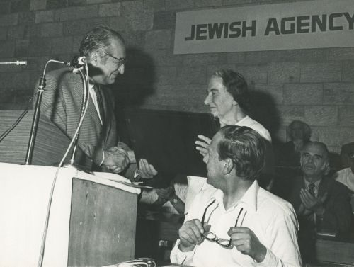Max M. Fisher with Golda Meir at a JAFI World Assembly